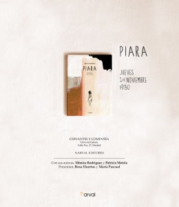 Presentación de Piara. Invitación. Librería Cervantes y Cía. Madrid