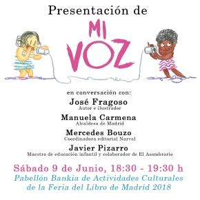Presentación Mi voz, Feria del Libro Madrid2018